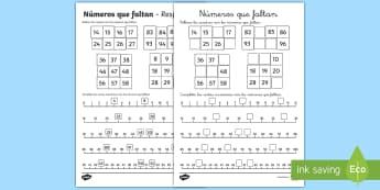 Ficha de actividad: Números que faltan - contar, ordenar números, números, orden, ordenar, ficha, mates, matemáticas,Spanish