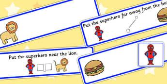 Put The Superhero Near Or Far Picture Strips - preposition