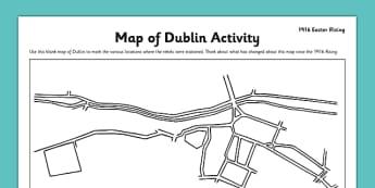 1916 Rising Dublin Map Worksheet - Easter 1916 Rising, irish history, map of dublin, worksheet