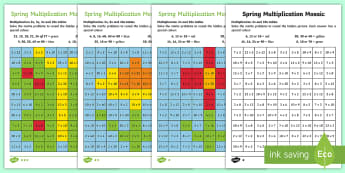 KS1 Spring Multiplication Mosaics Differentiated Activity Sheets - Spring UK, times tables, x2, x3, x5, x10, multiplication mosaic colouring activity, spring maths act