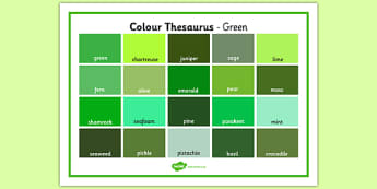 Colour Thesaurus Word Mat Green - colour thesaurus, colour, thesaurus, word mat, word, mat, green