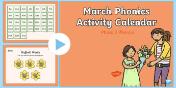 Phase 2 March Phonics Activity Calendar PowerPoint - March, phonics, calendar, monthly, reading, spelling, sorting, tricky words, letters and sounds, act