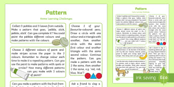 Patterns Home Learning Challenges Reception FS2 - sequence, home learning, home work, home links, home school, parent links, carers, adult input plan,