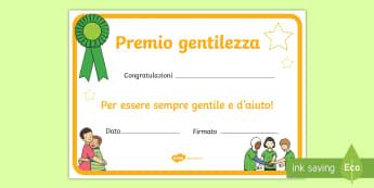 Premio gentilezza Attività - preimio, gentilezza, certificato, alunni,elementari, attività, italiano, italian, materiale, scolas