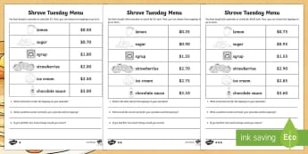 Shrove Tuesday Menu Challenge Differentiated Activity Sheets - Shrove Tuesday Menu Challenge  Differentiated Activity Sheets , shrove tuesday addition and substrac
