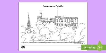Inverness Castle Colouring Page - CfE Social Studies resources, Inverness, colouring page, Highland area, Scotland, Scottish castle, l