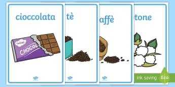 Commercio equo e solidale Poster - commercio, equo, e solidale, importazione, banane, cacao, italiano, italian, materiale, scolastico