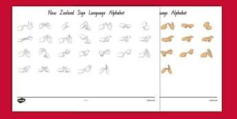 Editable New Zealand Sign Language Alphabet Signs - nz, new zealand, editable, alphabet, sign language, signs