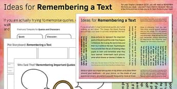 GCSE English Lit Ideas for Remembering a Text - gcse, remembering
