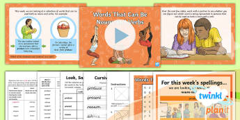 PlanIt Spelling Year 6 Term 3A W3: Words That Can Be Nouns and Verbs Spelling Pack - Spellings Year 6, Y6, nouns, verbs, spag, gps, spell, weekly, weeks, lists, list, rule, KS2,