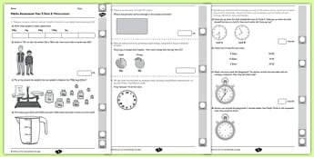 Year 3 Maths Assessment: Measurement Term 2 - year 3, maths, assessment