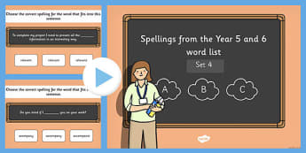Spelling from the Year 5 and 6 Wordlist Set 4 - spelling, 5, 6, wordlist, words, list, spell, words, 2014, curriculum, ks2