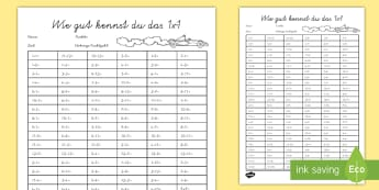 Wie gut kennst du das 1x1 Arbeitsblatt - times tables, challenge, maths, 1x1, Test, Mathematik, Multiplikation,German