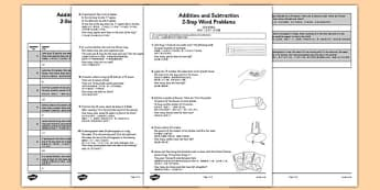 Addition and Subtraction Word Problems Activity Sheet Year 2 Mandarin Chinese Translation - mandarin chinese, Maths, addition, subtraction, word problems, 2-step, Year 2, worksheet