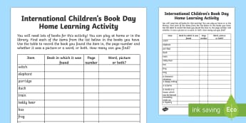 International Children's Book Day Home Learning Activity - International Children's Book Day, books, reading, book day, stories