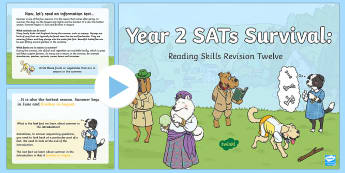 Year 2 SATs Survival: Reading Skills Revision PowerPoint 12 - SATs Survival Materials Year 2, SATs, assessment, 2017, English, SPaG, GPS, grammar, punctuation, sp