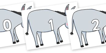 Numbers 0-50 on Hullabaloo Donkey to Support Teaching on Farmyard Hullabaloo - 0-50, foundation stage numeracy, Number recognition, Number flashcards, counting, number frieze, Display numbers, number posters