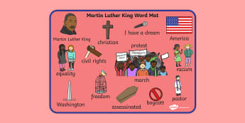 Martin Luther King Word Mat - martin luther king, word mat, mat