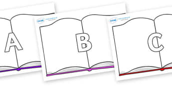 A-Z Alphabet on Books - A-Z, A4, display, Alphabet frieze, Display letters, Letter posters, A-Z letters, Alphabet flashcards