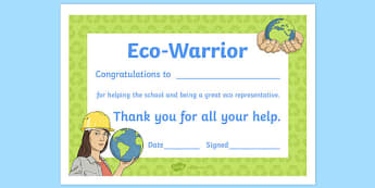 Eco Warrior Award Certificate - eco warrior, award certificate, award, certificate