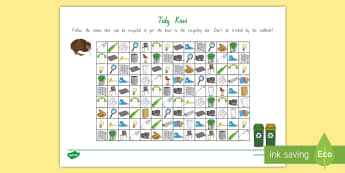 Tidy Kiwi Recycling Maze Activity - tidy kiwi, New Zealand, rubbish, recycling, Years 1-6, maze, activity