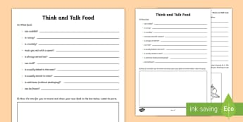 Think and Talk Food Activity Sheet - Oral Language Activity Sheets,talk and discussion,listening skills,talk about the picure,food,Irish,