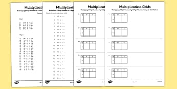 Multiplying 2 Digit Numbers by 1 Digit Numbers Using Grid Method Activity Sheet Pack - Multiplication, grid method, worksheet