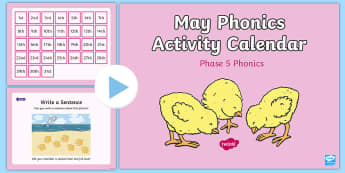 Phase 5 May Phonics Activity Calendar PowerPoint - Phase 5, April, April Fools, jokes, spring theme, phonics, calendar, monthly, reading, spelling, sor
