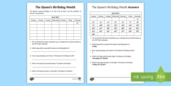 The Queen's Birthday Month Activity Sheet - worksheet, calendar, time, days, weeks, months, dates, years