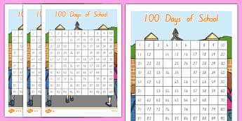 100 Days of School Differentiated Missing Numbers Number Square