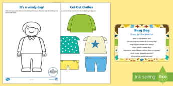 Dress for the Weather Busy Bag Prompt Card and Resource Pack - clothing, clothes, dressing, self care, weather, hot, cold, seasons