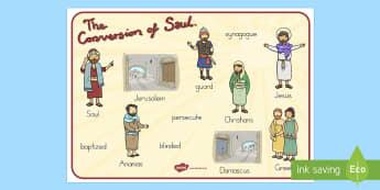 The Conversion of Saul Word Mat - usa, america, mats, words, literacy, visual, conversion, saul, bible stories