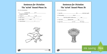 Northern Ireland Linguistic Phonics Stage 5 and 6, Phase 3a and 3b, 'w, wh' Dictation Sentences Activity - Linguistic Phonics, Stage 5, Stage 6, Phase 3a, Phase 3b, Northern Ireland, sentences, dictation, wo