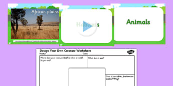 Animal Habitats and Design Your own Creature PowerPoint and Worksheet - habitats, habitats ks2, animal habitats, habitats powerpoint, habitats worksheet