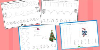 Elf Themed Pencil Control Worksheet - elf, pencil control, sheet