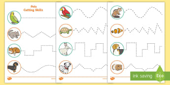 Pets-Themed Cutting Skills Activity Sheets - Pets, cat, dogs, rabbits, worksheets, cutting, scissor skills, fine motor,