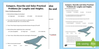 Compare, Solve and Describe Practical Problems for Length and Height Activity Sheet - Learning from Home Maths Workbooks, compare, units of measurement, worksheet