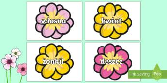 Wiosenne slownictwo na kwiatkach - kwiat, kwiatek, kwiatki, słowa, wyrazy, wiosna, wiosenne, wiosenny, pączki, pąki, kolorowe, przed
