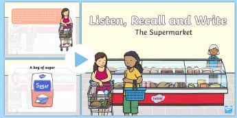 The Supermarket Oral Language Activity PowerPoint - ROI- Oral Language resources, new language curriculum, reading, oral language, writing, listen, reca