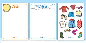 Cartes de vêtements à trier selon les saisons - french, winter, summer, clothes, sorting, activity, été, hiver, vêtements, habits, trier