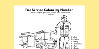Fire Service Colour By Number Dots - colour, number dots, number, dots, fire service