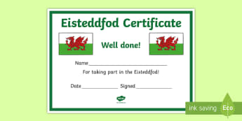 Eisteddfod Certificate - Eisteddfod, tystysgrif, certificate, llwyddiant, success.,Welsh