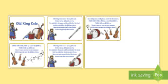 Old King Cole 4 per A4 Sequencing Cards - World Nursery Rhyme Week, old king cole, nursery rhyme, rhyme, order, sequence
