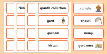 Sikhism Word Cards - Religion, faith, sikh, word card, flashcards, cards, temple, RE, rumala, manji, gurdwara, guru