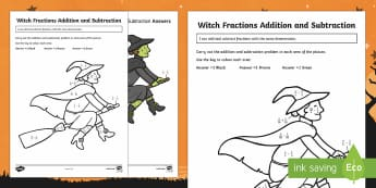Witch Fraction Addition and Subtraction Activity Sheet