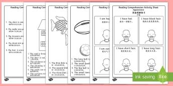 Reading Comprehension Activity Sheets English/Mandarin Chinese - Reading Comprehension Worksheets - reading comprehension, comprehension worksheets, reading comprehe