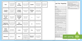 AQA Bonding, Structure and Properties of Matter Loop Cards - AQA Bonding, Structure and Properties of Matter Loop Cards
