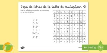 Ficha de actividad: Sopa de letras - La tabla de multiplicar x5 - multiplicar, multiplicación, tabla de multiplicar, múltiplos, sopa de letras, ficha, mates, matem