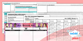 PlanIt - Art LKS2 - British Art Unit Assessment Pack - assessment, record, data, baseline, nation, pack, objectives, criteria, success, national, curriculum, local, design,