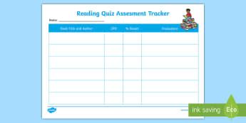 Individual Reading Quiz Assessment Tracker - AR, ZPD, Accelerated Reader, Accelerated reading, AR Tracker, AR pupil evaluations, Reading Evaluati